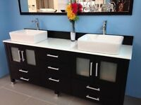 """WOW SUTTON 72"""" BATHROOM VANITY WITH OVER MOUNT SINKS $999"""
