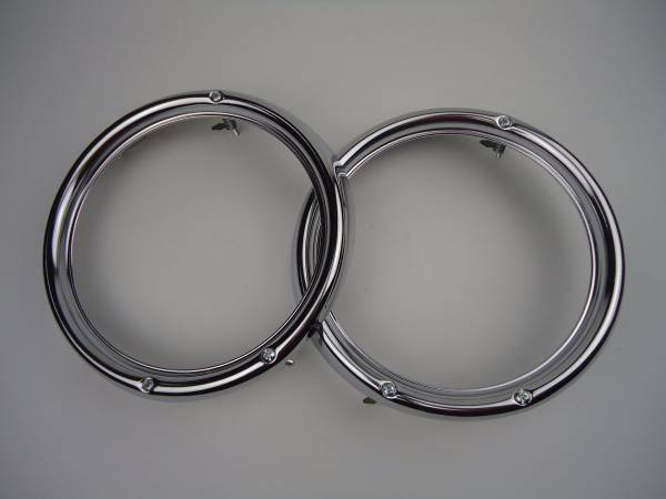 VW Beetle Bug Chromed Stainless Steel Headlamp Rim Headlight Ring 2pcs 3 Holes