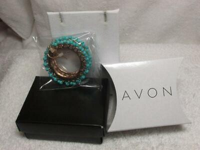 Avon 2014 Pop Of Color Turquoise Bead Open Disc Dangle Gold Tone Earrings NOS Open Disc Drop