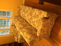 COUCH, ARM CHAIR, OTTOMAN, BOOKSHELVES - GREAT CONDITION!