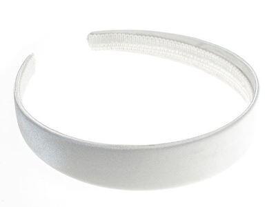 2.5cm White Satin Covered Alice Band Headband Bandeau Hair Band Ladies Girls