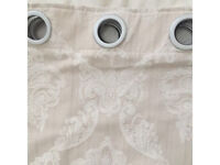 Full length cream patterned curtains