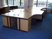 Quality Beech Radial Cantilever Office/Home Workstation/ Pedestal - FREE DELIVERY & FREE ASSEMBLING,