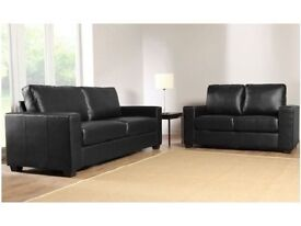 **7-DAY MONEY BACK GUARANTEE!** - Italian Leather Sofa Set in Black and Brown - DELIVERED SAME DAY!