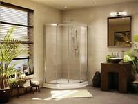 Fleurco Neoangle sliding shower doors chrome/clear