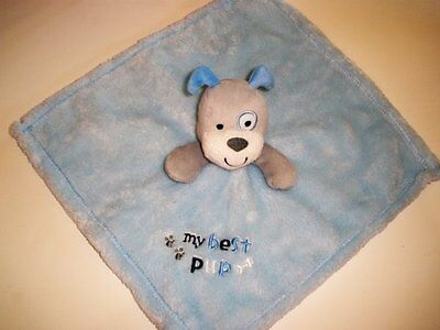 Baby Gear My Best Pup Blue Grey Gray Puppy Dog Security Blanket Plush Baby Toy