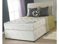 Brand New White Fabric Divan Beds Available Single + Double + King Size