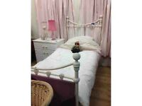 Laura Ashley- Cream single metal bed with mattress