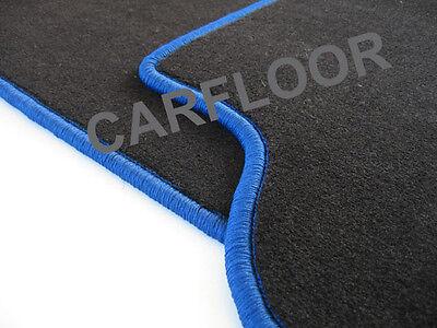 Für Mercedes SL R230 Bj. 10.01-02.12  Fußmatten Velours schwarz Rand königsblau