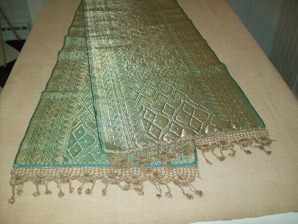 Antique BROCADE Table RUNNER Metallic Thread & Crochet Fringe Trim Green & Gold