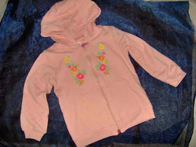 GIRLS NEXT ZIP FRONT HOODIE WITH EMBROIDERY  - AGES 9/12m - 4/5y PRETTY PEACH