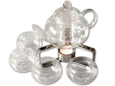 06 Tee (Tee-Service 600ml Glas Kanne Borosilikatglas u. 4 doppelwandige Tee Tassen TC06)