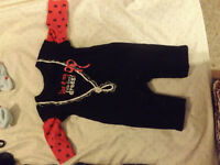 0-3 month black and pink long sleeve footless bodysuit