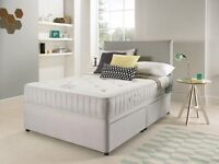 IN STOCK SUEDE DOUBLE DIVAN BED WITH OPEN SPRUNG MEMORY FOAM MATTRESS & HEADBOARD 24 HOUR DELIVERY