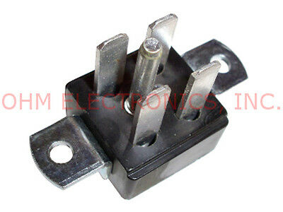 Jones Plug Connector - 4 Pin Male - Angle Bracket Chassis Mount - P-2404-ab