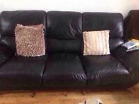 3 seat and 2 seat black leather sofas
