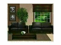 SUPER BEST QUALITY NEW FAUX LEATHER BOX 3+2 SEATER SOFA SET IN BLACK & BROWN COLOR