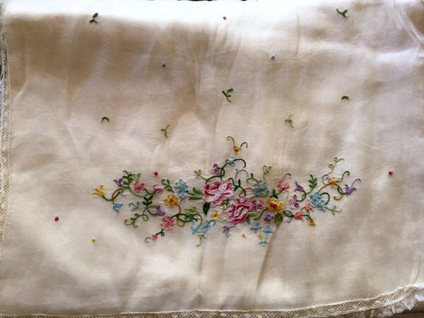 Antique French Lingerie Case Baby Pink Silk Satin Embroidered Flowers Excellent