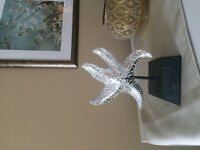 Silver Starfish Sculpture for Home Decor with stand