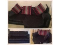 Sofa, 4 and 3 seater spinning cuddle chair black pink grey purple chenille