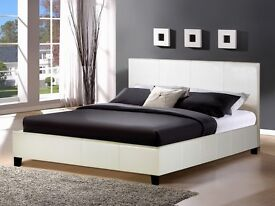 White small double bed with luxury memory foam spring mattress