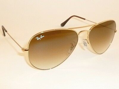 New RAY BAN  Aviator Sunglasses  Gold Frame  RB 3025 001/51  Gradient Brown (Ray Ban 3025 Gold Brown Gradient 55mm)