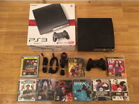 120gb SLIM PS3 CONSOLE COMPLETE WITH BOX & 9 GAMES £70 no offers