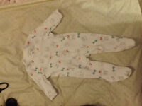 0-3 month long-sleeve footed bunny bodysuit