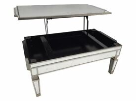 NEW! FABULOUS LIFT UP TOP MIRRORED COFFEE TABLE