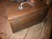 Vintage antique theatre make up/shoe shine polish tool box holder storage crate gift for dad