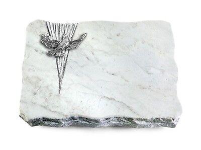 Grabplatte mit Taube, Grabstein,  Omega-Marmor, ca. 40x30x5 cm (Taube Platte)