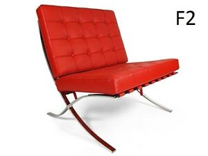 Italian Leather Barcelona Chair, Bench and Daybed For Sale