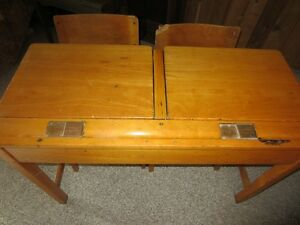 Antique Solid Oak double school desk with inkwells Kawartha Lakes Peterborough Area image 3