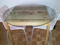Wooden glass table with two chairs
