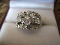 White gold large diamond engagement or dinner ring over 2ct diamonds