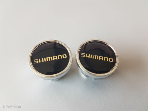 Vintage style Shimano black/gold Handlebar End Plugs