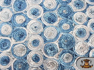 (MULTI-COLOR CIRCLE EMBOSSED TAFFETA FABRIC BLUE / 60