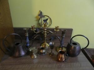 9  Small Brass Pieces –1 candleholder  for 3 candles, etc