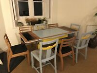 Up cycled Retro Extendable Dining Table and 8 Chairs
