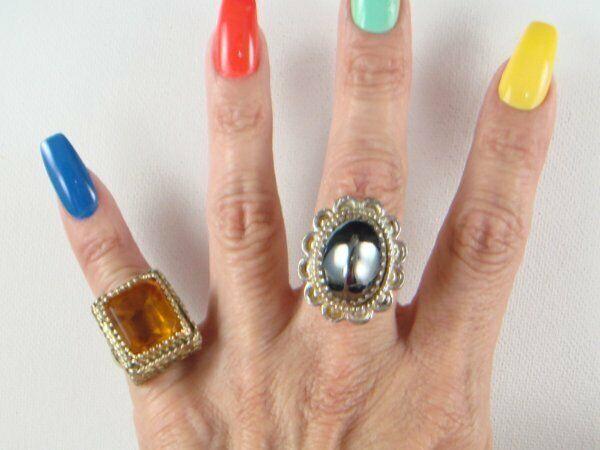 Lot of 2 Whiting & Davis Rings Size 8 & 4 Pinky Ring Hematite Tangerine Orange