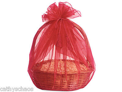 3 Red Sheer Organza Basket Wrap Tassel Ties All Occasion Holiday Gifts Reusable - Wholesale Gift Basket Supplies