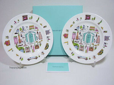TIFFANY & CO BONE CHINA 5th Avenue Dessert Plate set of 2 w/ gift box From Japan