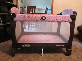 Hardly used travel cot-play pen open to offers