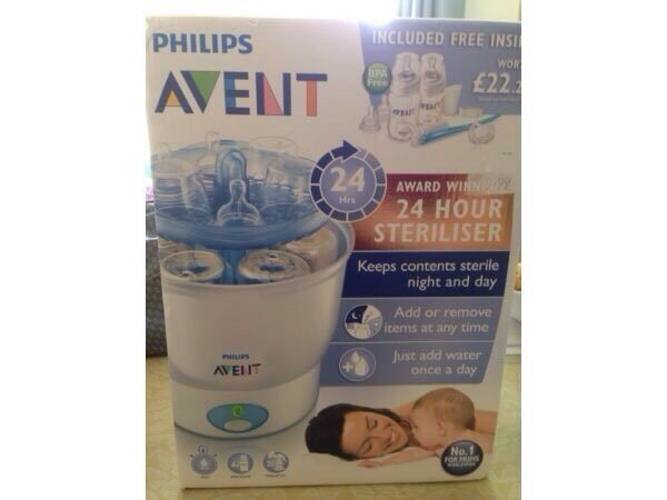 Avent steriliser packagein Swindon, WiltshireGumtree - Avent package comes with electric steriliser comes with box. 3x260ml (9oz) bottles with teats size 1,2 and 32x125ml (4oz) bottles with teats size 1 and 2 2x brand new size 1 teats2x used size 1 teats1x Avent manual breast pump 2x bottle capsBottles...