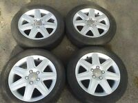 "GENUINE SEAT ALTEA LEON TOLEDO EXEO 16"" ALLOYS & M+S WINTER TYRES. 5X112 VW GOLF CADDY 5P0601025E"
