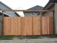 Beautiful cedar fence panel installation call today for free est
