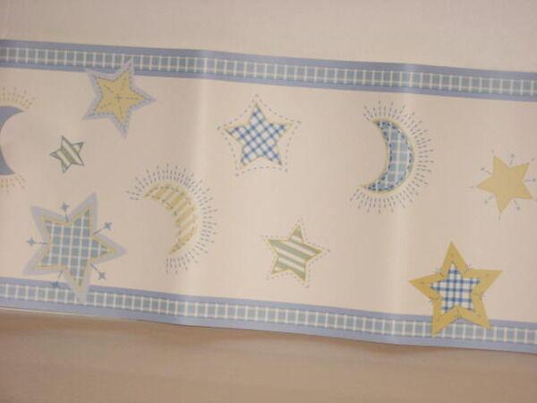 Nojo Wallpaper Border Moonstruck Star Moon Blue Yellow Green Cream 5 Yds NEW