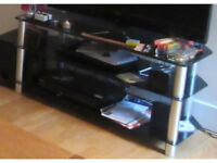 Glass Three Shelf Television/DVD/Games Console Stand