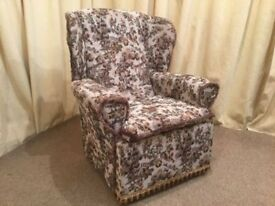 High Wing Back Easy Chair Tapestry Armchair - See Delivery