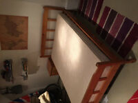 Solid Pine Wooden Double Bed & Mattress
